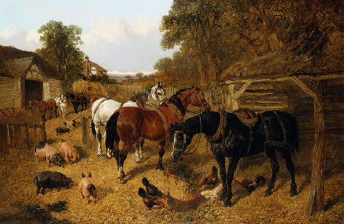Carthorses In A Stable Yard by John Frederick Herring