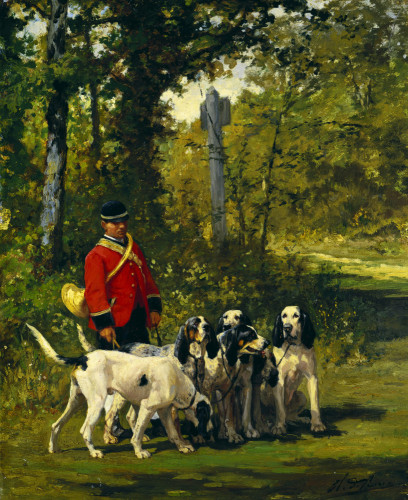 Before The Hunt; (Hound Handler) Of The Duke Of Uzes by Charles Oliver De Penne