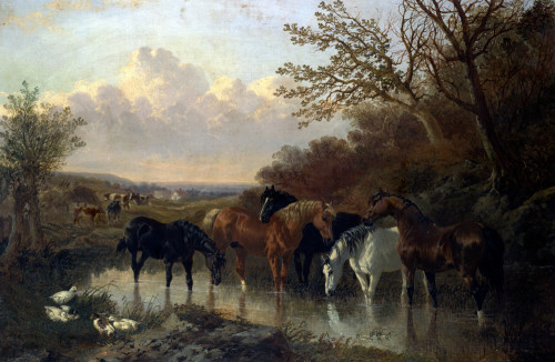 Farmhorses Watering In A Wooded River Landscape by John Frederick Herring