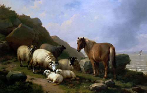 A Pony And Sheep On A Cliff With A Sailing Vessel Beyond by Eugene Joseph Verboeckhoven