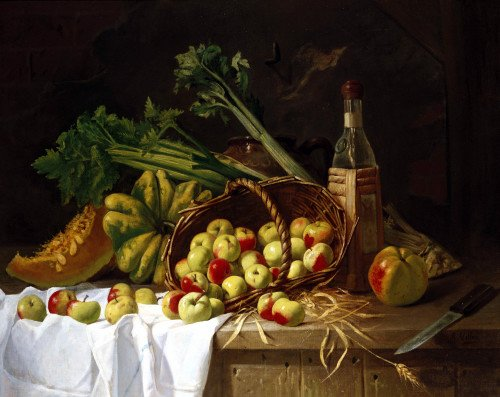 A Still Life With A Bottle Of Wine, Rhubarb by Antoine Vollon