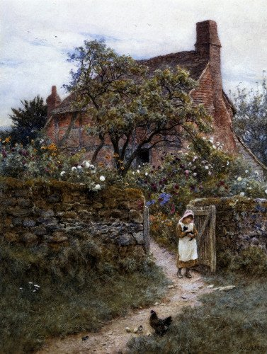The Black Kitten by Helen Allingham