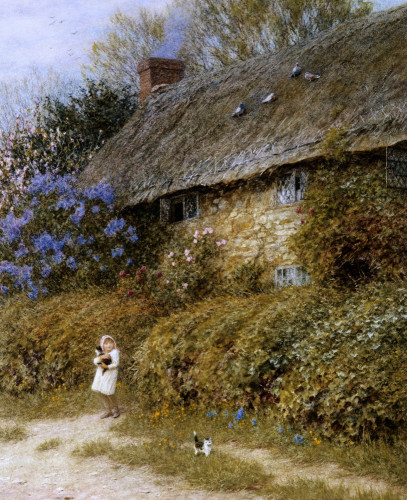 Old Cottage At Freshwater,  Isle Of Wight by Helen Allingham