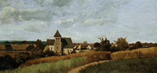 A Village At Harvest Time by Henri Joseph Harpignies