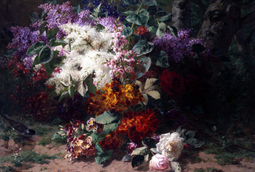 A Floral Still Life With Roses, Lilacs, Pansies, Primroses, Cherry Blossoms by Jean-Baptiste Robie