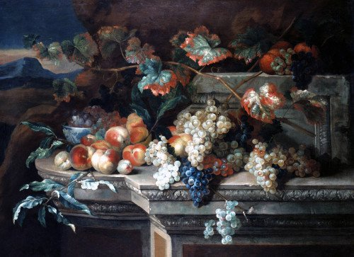 A Still Life With Grapes And Peaches On A Stone Ledge by Georgius Jacobus Johannes Van Os