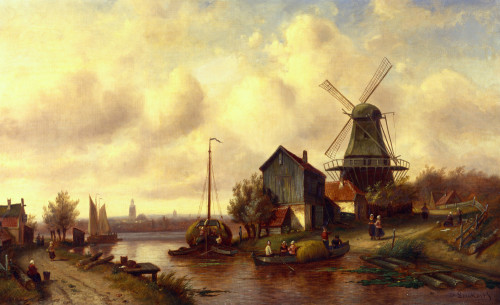 A Dutch River Village by Charles Henri Joseph Leickert