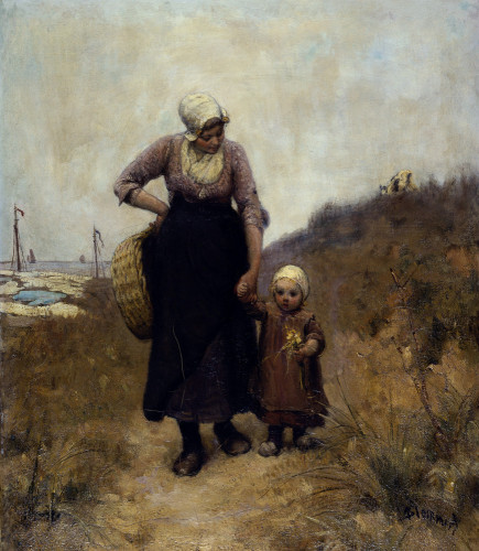 Mother And Child On A Path By The Sea by Bernardus Johannes Blommers