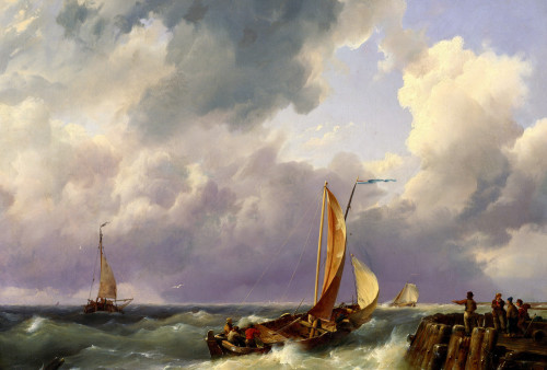 Shipping Off A Jetty by Hermanus Koekkoek