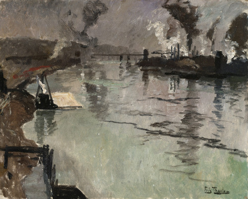 Smokestacks Along The River by Fritz Thaulow