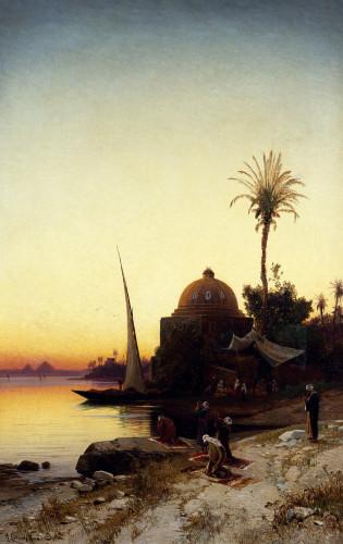 Arab Men Praying By The Nile At Sunset by Hermann-David-Salomon Corrodi