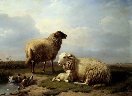 Sheep And Ducks In A Landscape by Eugene Joseph Verboeckhoven