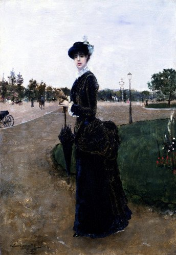 An Elegant Lady In The Bois De Boulogne by Norbert Goeneutte