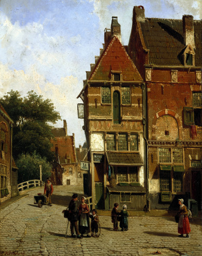 A Dutch Street Scene by Willem Koekkoek