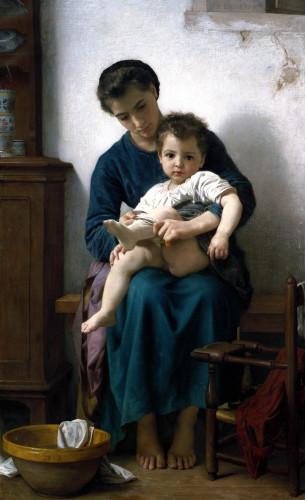 The Elder Sister, La Grande Soeur by Adolphe William Bouguereau