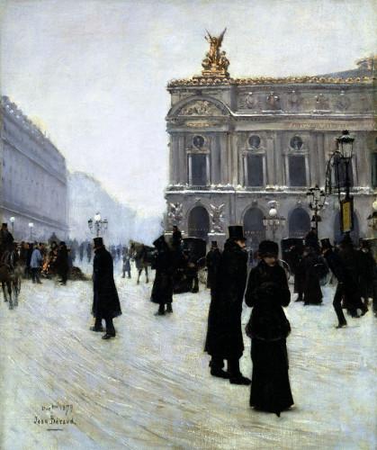 Outside The Opera, Paris by Jean Beraud