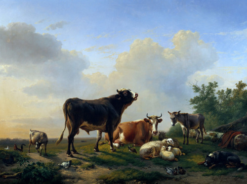 A Bull, A Cow, A Donkey, A Goat, A Dog, Sheep And Poultry by Eugene Joseph Verboeckhoven