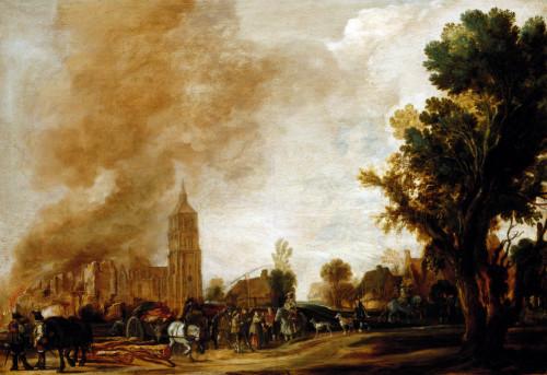 Soldiers Leaving A Burning Village by Aert Van Der Neer
