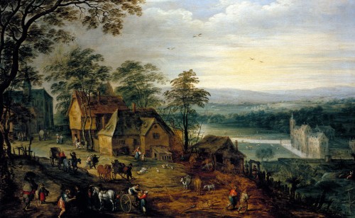 Village Street, With Figures And Carts by Jan Bruegel The Younger