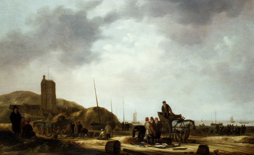 Fishermen Displaying Their Catch On A Beach by Willem Gillesz Kool