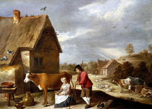 A Milkmaid And Shepherd Outside A Cottage by Pierre Gavarni