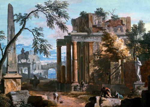A Classical Capriccio With A Porticoed Temple And an Obelisk by Marco Ricci