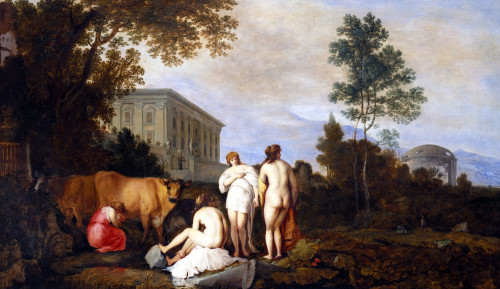 Landscape With Nymphs And A Milkmaid By A Palace by Moyses van Uyttenbroeck