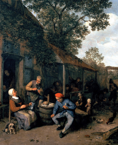 Peasants Smoking And Feasting Outside A Tavern by Adriaen Jansz Van Ostade