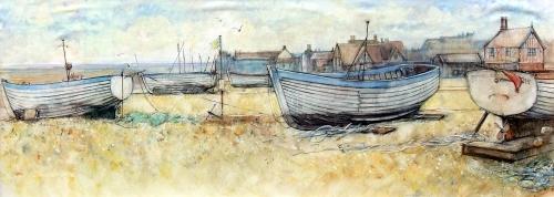 Aldeburgh Beach & Moot Hall by Anne Rea