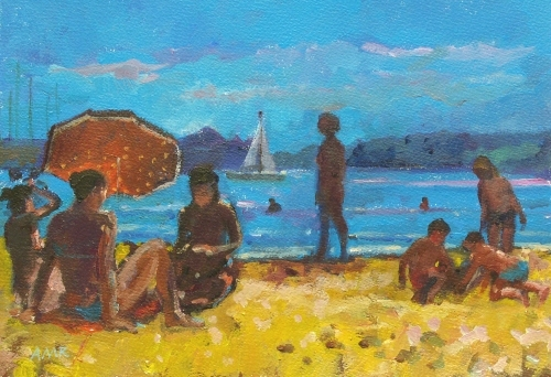 Beach at Cassis with Red Umbrella by Anne Rea
