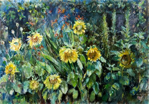 Sunflowers and Apple Tree by Anne Rea