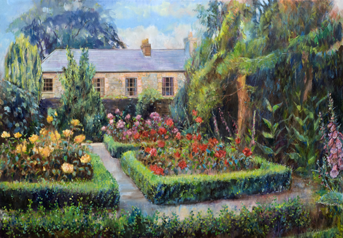 Roses and Box Hedges Garden near Dublin by Anne Rea