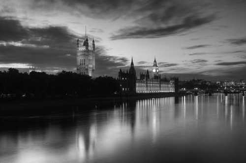 Westminster at Dusk BW by Christopher Holt