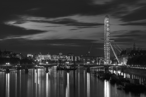 London Eye by night BW by Christopher Holt