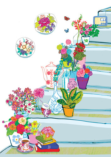 Floral Staircase by Louise Cunningham