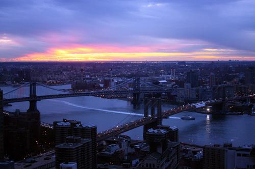 New York bridges at dawn by Wayne Williams