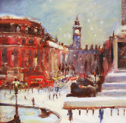 Trafalgar Square-Snowing by Martin Ulbricht