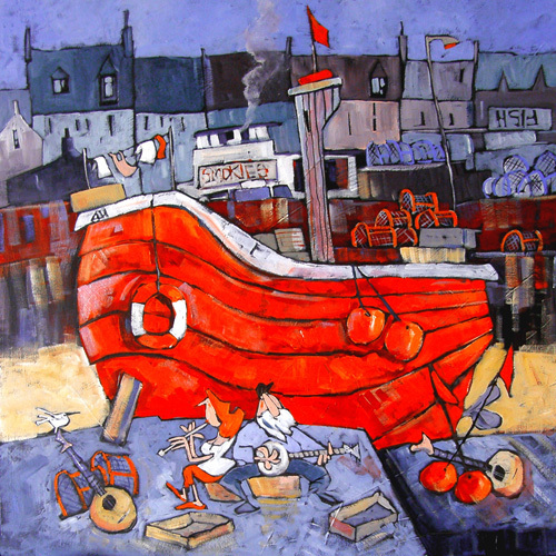 Folk on the Quay by Brian Petrie