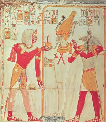Sethos burns incense before Osiris by Egyptian Art