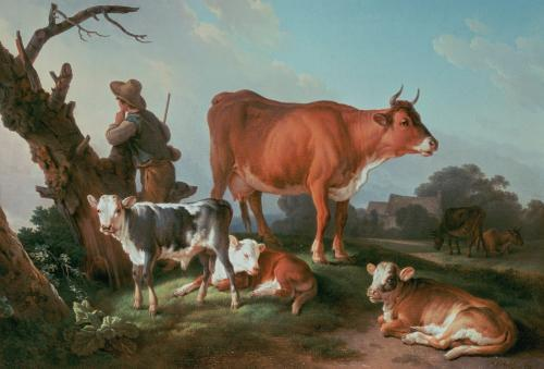 Pastoral scene with a cowherd by Jean-Francois Hue