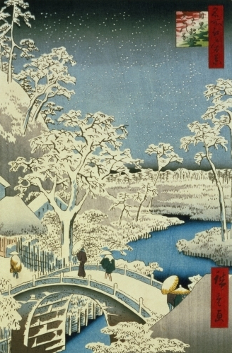 Drum bridge and Setting Sun Hill at Meguro, 1857 by Ando Hiroshige
