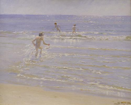 Sunshine at Skagen: Boys Swimming, 1892 (study) by Peder Severin Kröyer