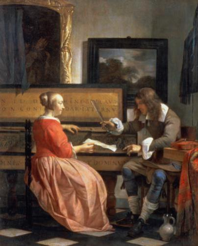 A Man and a Woman Seated by a Virginal, c.1665 by Gabriel Metsu