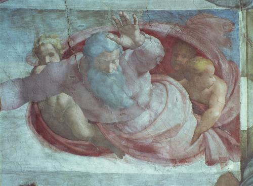Sistine Chapel: God Dividing the Waters and Earth by Michelangelo