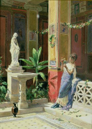 In a courtyard in Pompeii by Luigi Bazzani