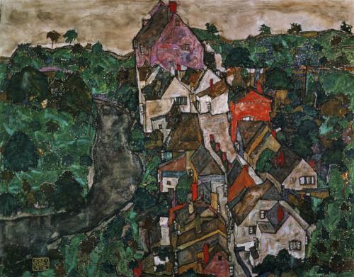 Landscape at Krumau, 1910 by Egon Schiele