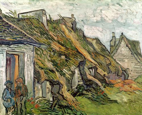 Thatched Cottages in Chaponval, 1890 by Vincent Van Gogh