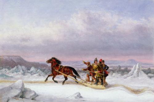Crossing the St. Lawrence from Levis to Quebec by Cornelius Krieghoff