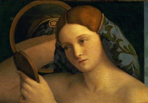 Young Woman at her Toilet, detail of the face, 1515 by Giovanni Bellini