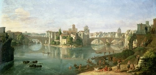 The Tiberian Island in Rome, 1685 by Gaspar Van Wittel